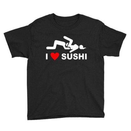 I Love Sushi Funny Youth Tee Designed By Leona Art