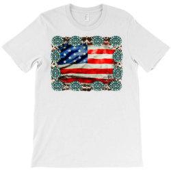 American Flag Cowhide T-shirt Designed By Badaudesign