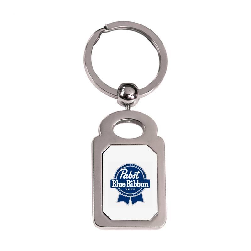 Pabst Blue Ribbon Silver Rectangle Keychain | Artistshot