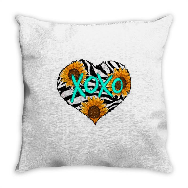 Zebra Print And Sunflower Heart Throw Pillow | Artistshot