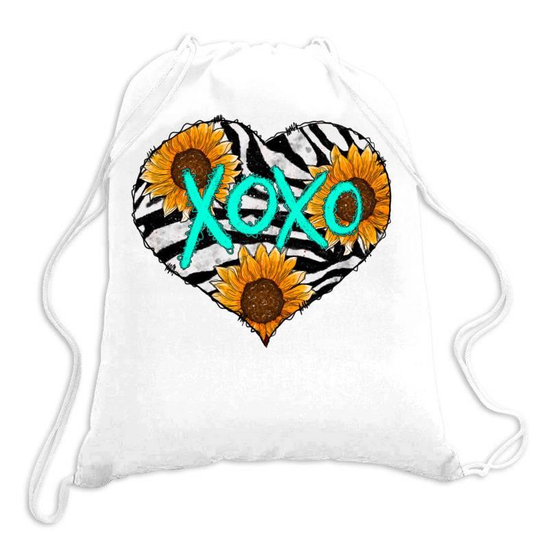 Zebra Print And Sunflower Heart Drawstring Bags | Artistshot
