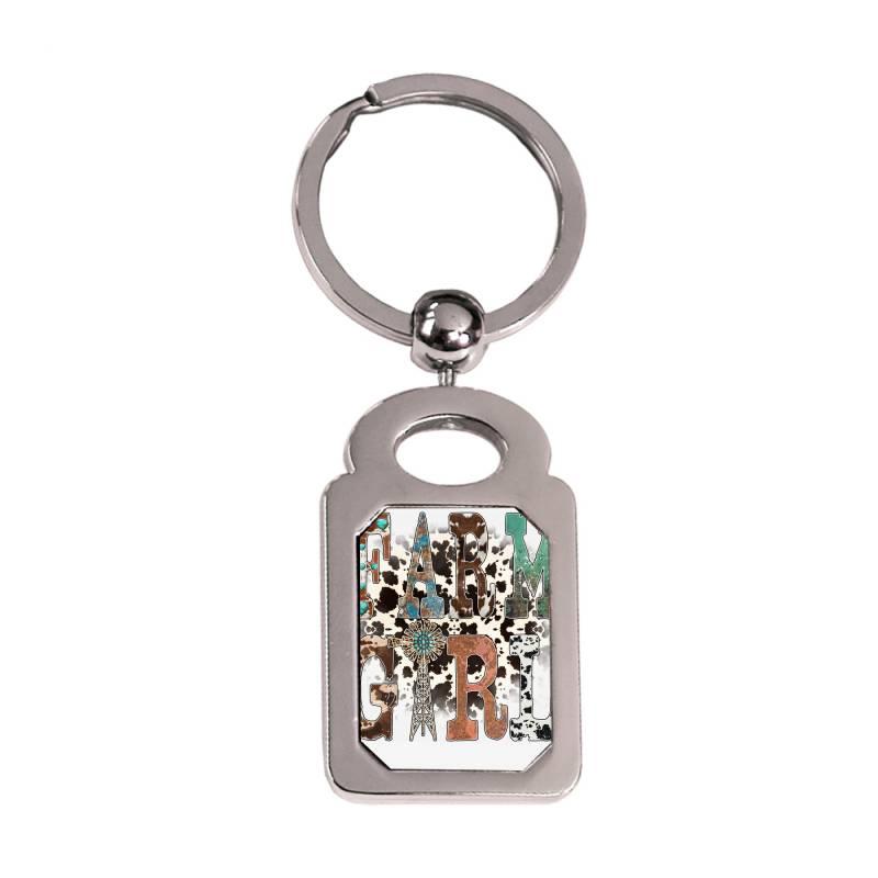 Farm Girl Silver Rectangle Keychain | Artistshot