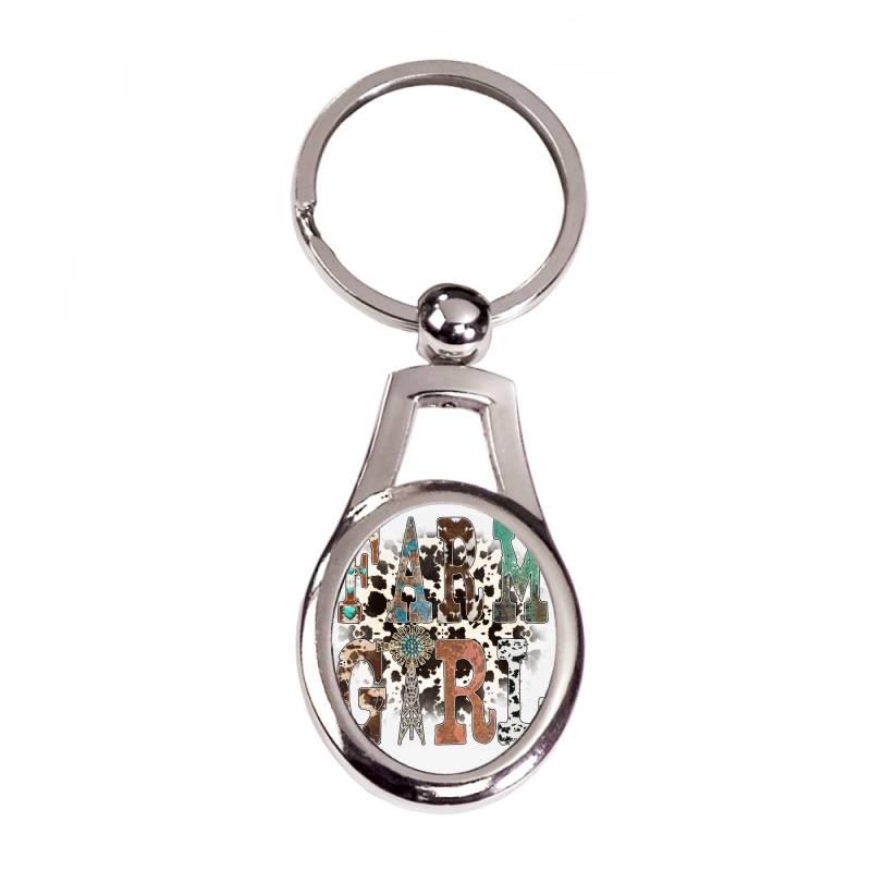 Farm Girl Silver Oval Keychain | Artistshot