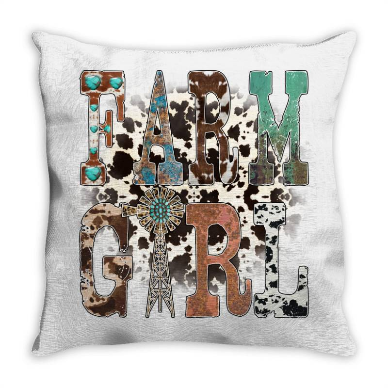 Farm Girl Throw Pillow | Artistshot
