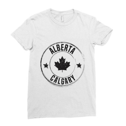 Calgary -  Alberta Ladies Fitted T-shirt Designed By Chris Ceconello