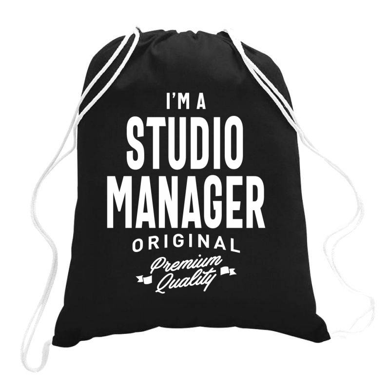 Studio Manager Gift Funny Job Title Profession Birthday Idea Drawstring Bags | Artistshot