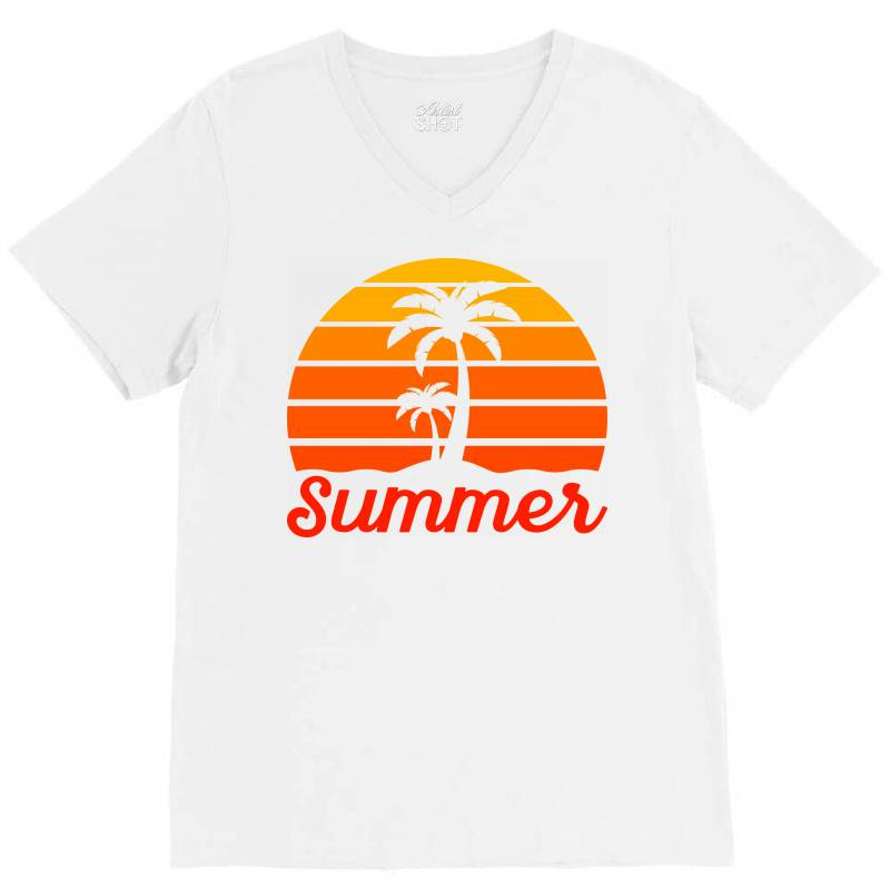 Summer Beach Palm Tree V-neck Tee | Artistshot
