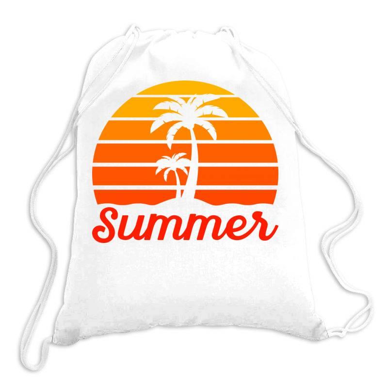 Summer Beach Palm Tree Drawstring Bags | Artistshot