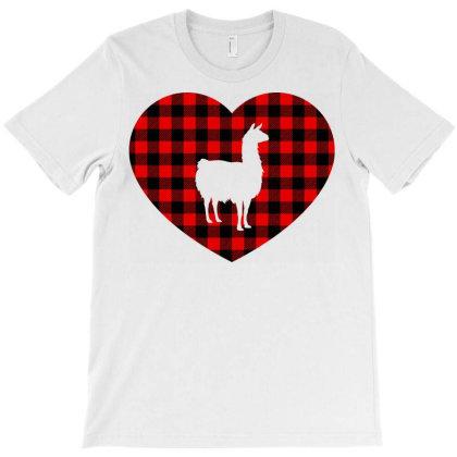 Llama Heart – Buffalo Plaid T-shirt Designed By Ombredreams