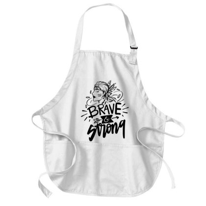 Brave And Strong Woman Medium-length Apron Designed By L4l4pow
