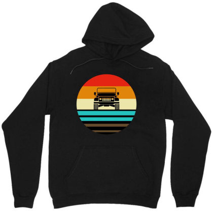 Retro Vintage Sunset 4x4 Car Off Road Unisex Hoodie Designed By Blees Store