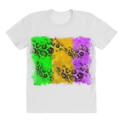 Mardi Gras Leopard Flag All Over Women's T-shirt Designed By Badaudesign