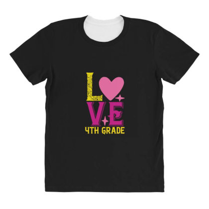4th Grade Love All Over Women's T-shirt Designed By Kahvel