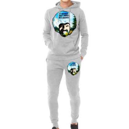 Bob Ross Happy Accidents Hoodie & Jogger Set Designed By Mdk Art