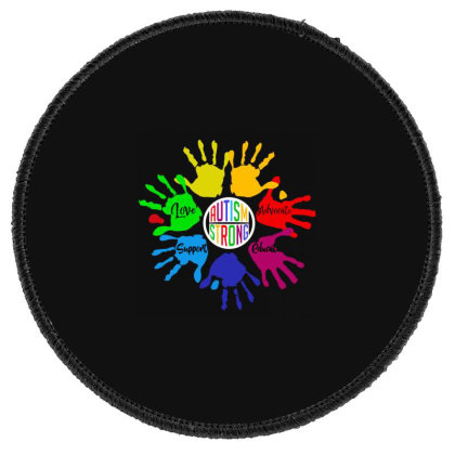 Autism Strong Hands Round Patch Designed By Sam Soe