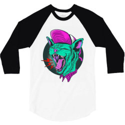 kitty scream 3/4 Sleeve Shirt | Artistshot