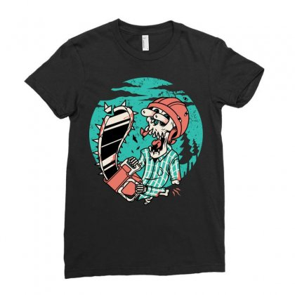 Skullchain Saw Ladies Fitted T-shirt Designed By Quilimo