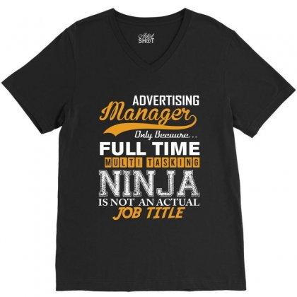 Advertising Manager Ninja Job Title, V-neck Tee Designed By Rardesign
