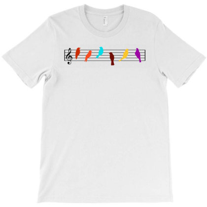 Birds On A Wire. Musical Birds T-shirt Designed By Artbypedro