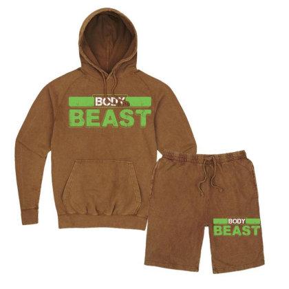 Body Beast Vintage Hoodie And Short Set Designed By Tshiart