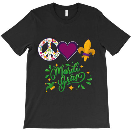 Peace Love Mardİ Gras T-shirt Designed By Wizarts
