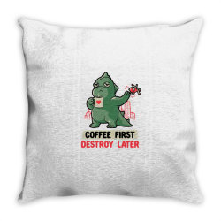 Coffee First Destroy Later Cute Funny Monster Gift Throw Pillow | Artistshot
