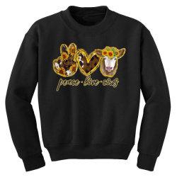 Peace Love Cows Youth Sweatshirt   Artistshot