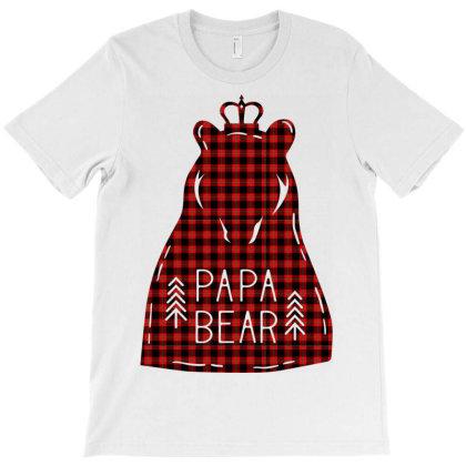 Papa Bear – Buffalo Plaid T-shirt Designed By Ombredreams