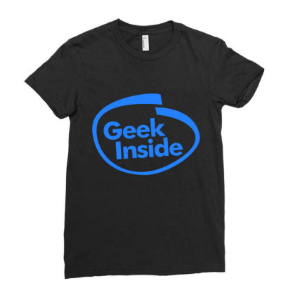 Geek Inside Ladies Fitted T-shirt Designed By Wahidin77