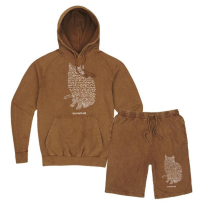 Cats Equation Vintage Hoodie And Short Set Designed By Mdk Art
