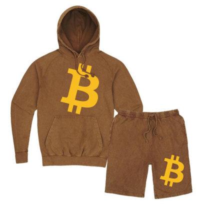 Bitcoin Logo Vintage Hoodie And Short Set Designed By Mdk Art