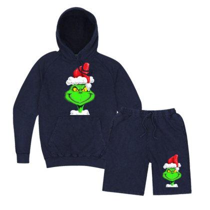 Grinch The Santa Vintage Hoodie And Short Set Designed By Mdk Art