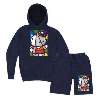 Hello Picasso Kitty Vintage Hoodie And Short Set Designed By Mdk Art