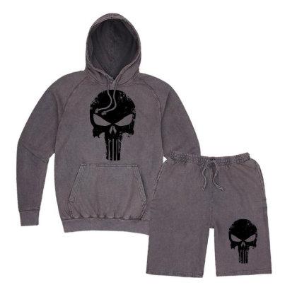 The Punisher Skull Black Vintage Hoodie And Short Set Designed By Constan002