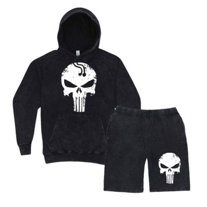 The Punisher Skull Vintage Hoodie And Short Set Designed By Constan002