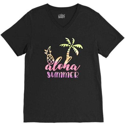 Aloha Summer Sublimation V-neck Tee Designed By Asiya