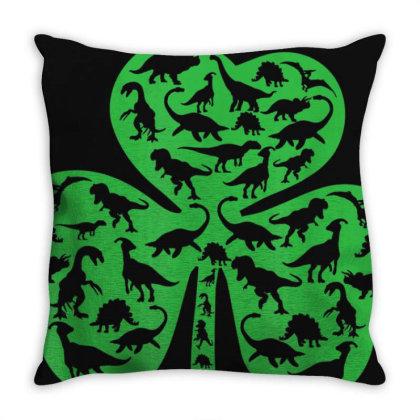 Boys St Patricks Day Shirt Dinosaur Shamrock Kids Dino Gift T-shirt Throw Pillow Designed By Cuser3772