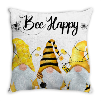 Bee Happy Bee Gnome Spring T-shirt Throw Pillow Designed By Cuser3772