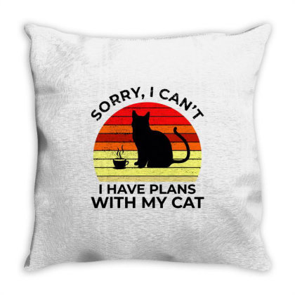 Sorry I Can't I Have Plans With My Cat Throw Pillow Designed By Mito220