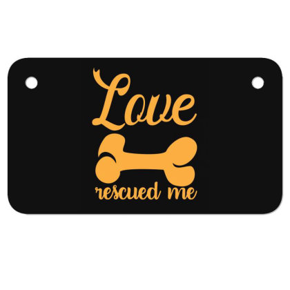 Love Rescued Me Funny T Shirt Motorcycle License Plate Designed By Gnuh79