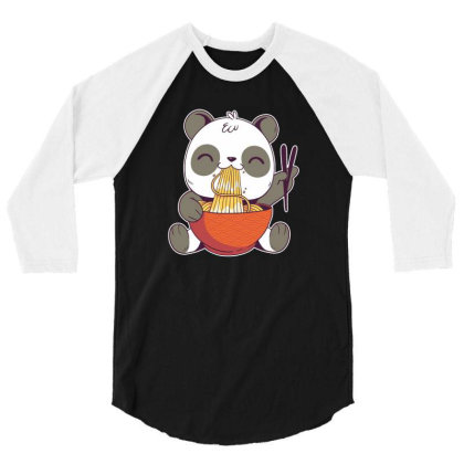 Ramen Panda 3/4 Sleeve Shirt Designed By Owen