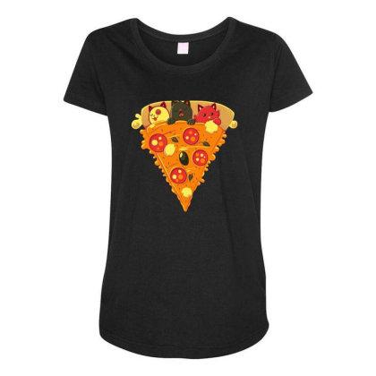 Pizza Cat Maternity Scoop Neck T-shirt Designed By Owen