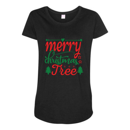 Merry Christmas Tree Maternity Scoop Neck T-shirt Designed By Gnuh79