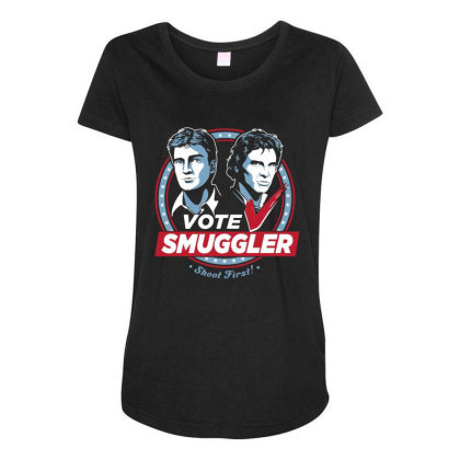 Vote Smuggler Maternity Scoop Neck T-shirt Designed By Lotus Fashion Realm
