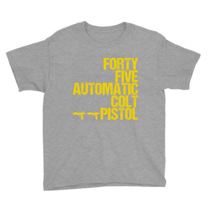 Forty Five Automatic Colt Pistol Youth Tee Designed By Sugarmoon