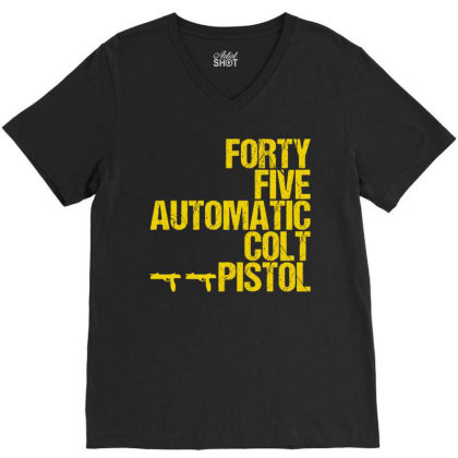 Forty Five Automatic Colt Pistol V-neck Tee Designed By Sugarmoon