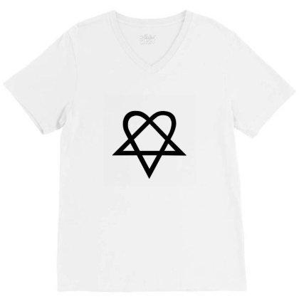 Him Heartagram Metal Music Logo V-neck Tee Designed By Şen
