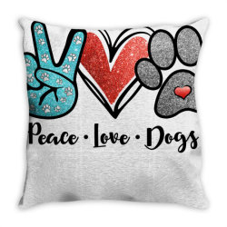 peace love dogs Throw Pillow | Artistshot