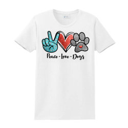 Peace Love Dogs Ladies Classic T-shirt Designed By Cosby