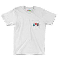 Peace Love Dogs Pocket T-shirt Designed By Cosby